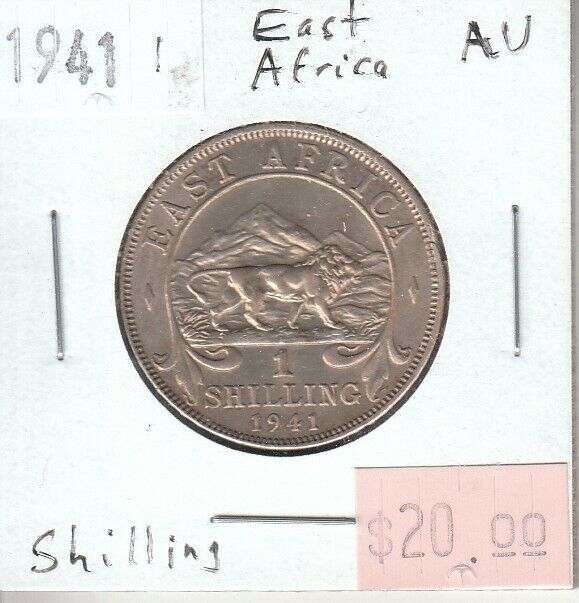 East Africa 1 Shilling 1941 AU Almost Uncirculated