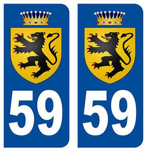 59 lion des flandres nord departement immatriculation 2 x autocollants sticker ebay. Black Bedroom Furniture Sets. Home Design Ideas
