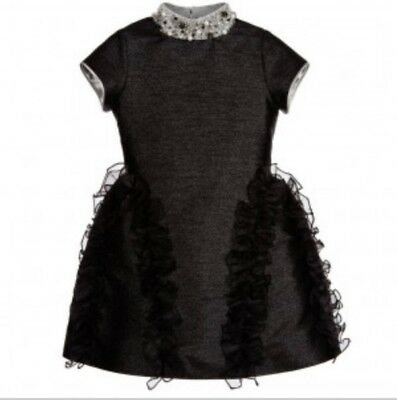 NEW! ValMax Black Metallic Dress With Jewel Collar Size 9y
