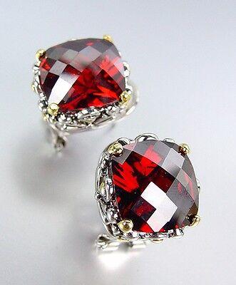 Designer Silver Gold Balinese Filigree Red Garnet CZ Crystal Omega Back Earrings