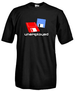 T-Shirt-girocollo-manica-corta-Vintage-V38-Computer-floppy-disks-unemployed