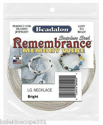 MEMORY WIRE BEADALON LARGE NECKLACE STAINLESS STEEL 1 OZ W3