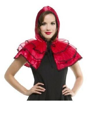 NEW WOMEN'S Red Lace HOODED CAPELET Adult Halloween Costume one size CAPE