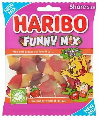 Haribo Funny Mix Fruit flavour gummy sweets Suitable for vegetarians 140Grams