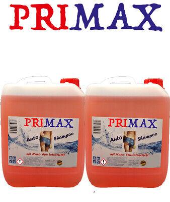 2x5L Primax Autoshampoo NANO Effekt  Hoch-Konzentrat mit Abperleffekt Autowäsche