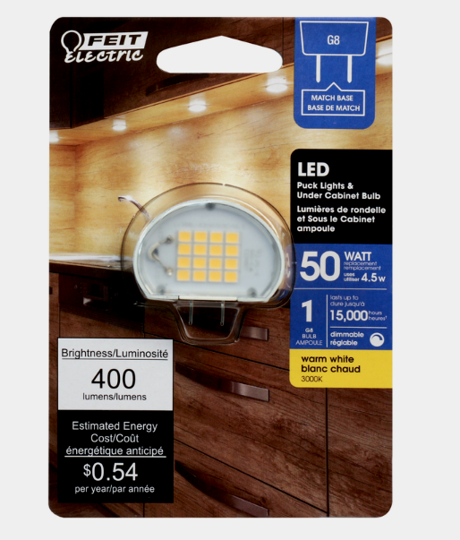 FEIT Electric G8 LED Under Cabinet Bulb Puck Lights Warm Whi