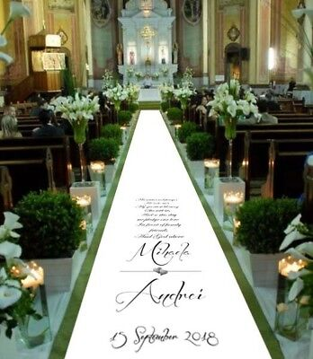 Personalised WEDDING AISLE RUNNER. Church Wedding Carpet Decoration. 15ft - 30ft - Personalized Wedding Aisle Runner