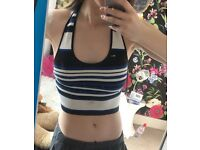 Stripy halter neck crop top
