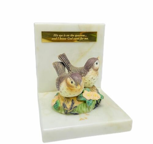 Sparrow bookend figurine sculpture bible verse marble flower bird book end vtg 1