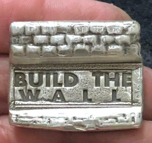 """2 Troy Oz  """"Build The Wall - Make America Great"""" Hand Poured .999 Fine Silver"""