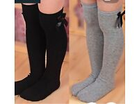 Knee socks grey or black FREE POSTAGE