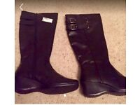 Next Black Leather Boots Size 7 B N