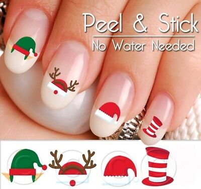 Santa and Elves hats Nail Decal Set (Peel and Stick) CHR902