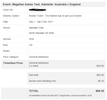 2 x General Admin tickets to 2nd Ashes Test (Adelaide/Cricket)