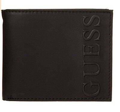 NEW GUESS BLACK LEATHER CREDIT CARD CASE PASSCASE BILLFOLD FRESNO MEN'S WALLET