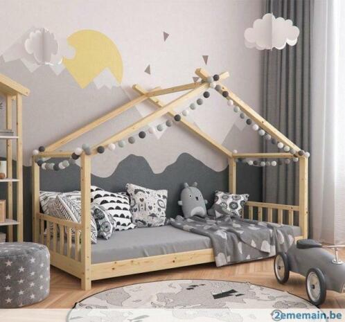 ② Lit montessori naturel pour enfant 90x200 cm lit moderne ...