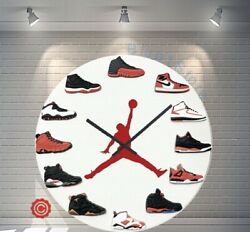 Premium 12 Clock Jordan 1-12 RED DOT 2D QUARTZ  nike supreme off white yeezy
