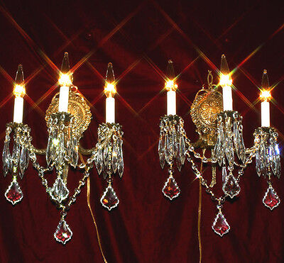 2 Vintage sconces lamps Foyer Boudoir Wall fixtures 3light Gilt Bronze Brass old