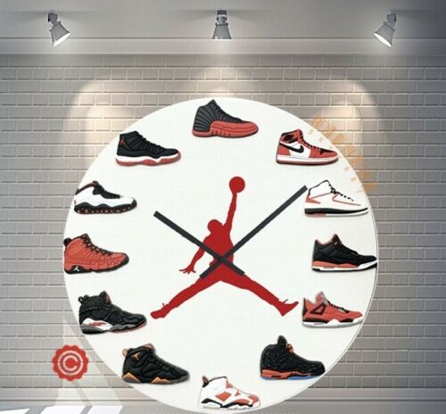 "New 12"" Clock Jordan 1-12 RED DOT 2D Quartz nike supreme off white yeezy sneaker"