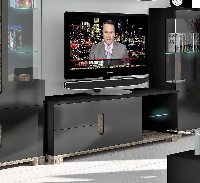 Lorenz High Gloss Black Sideboard Tv Unit Tall Display