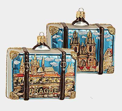 Prague Czech Republic Travel Suitcase Glass Christmas Ornament ONE Decoration
