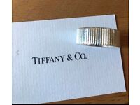 Tiffany & Co Sterling Silver 925 Coin Ring with Pouch and Box, Size 7.5, 5mm