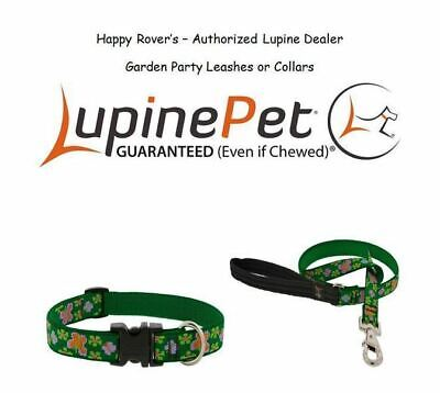 """Lupine Lifetime Dog Collar or Leash LIMITED Flowers Butterfly GARDEN PARTY -3/4"""""""