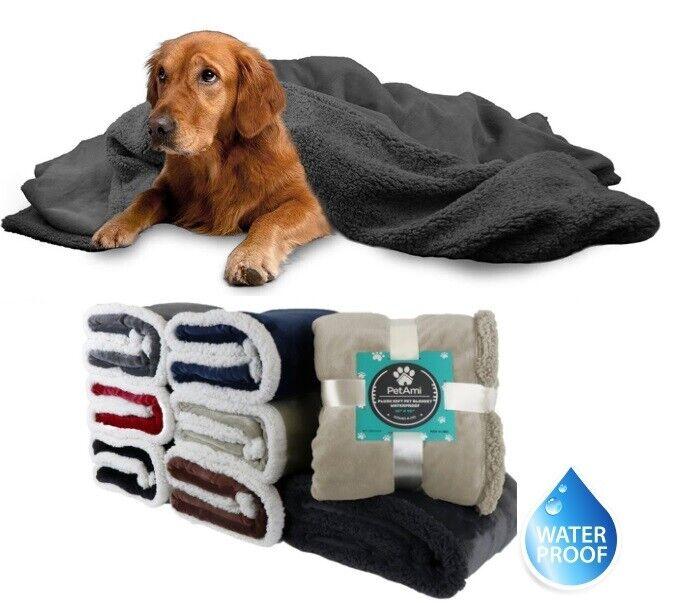 WATERPROOF Dog Blanket for Large Dogs Reversible Fleece Sher