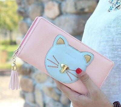 GVF Woman PU Fashion Metal Big Cat Face Long Wallet Purse