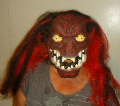Latex Halloween Mask Red Black Long Hair Scary Monster Ghoul Adult