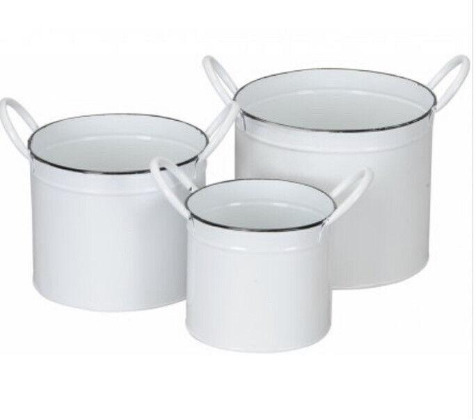 Metal+Bucket+Set%2C+3+Garden+Bucket%2C+Plants+Pots%2C+Decor+Water+Bucket+Set+White