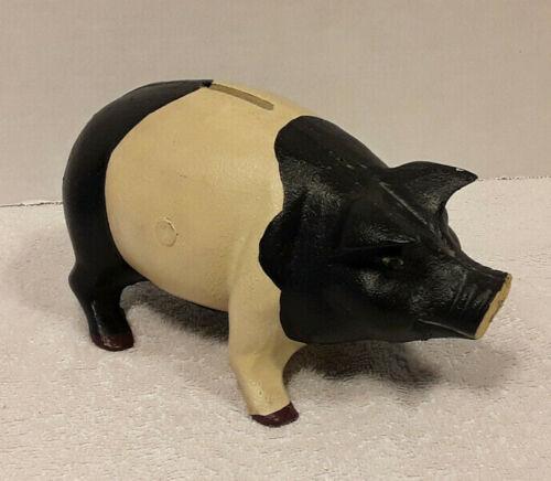 Vintage Cast Iron Pig Boar Piggy Bank / Door Stop Heavy Coin Savings Bank