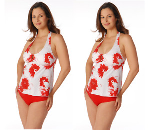 Small Red White Halter Maternity Swimsuit NEW