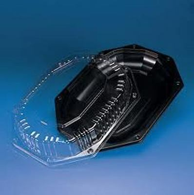Plastic Catering Platters (10x Large Black Platters & Clear Lids, Sandwich Trays, Catering Buffet)