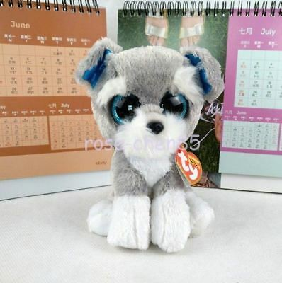 "6"" Ty Beanie Boos Whiskers Grey Schnauzer Puppy Dog Plush Stuffed Animals Toys"