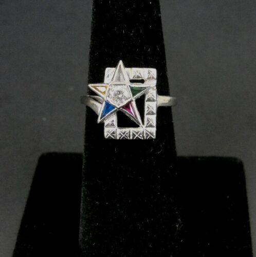 Vintage Retro Eastern Star White 10K Gold Multi Color Stone Diamond Ring Size 6