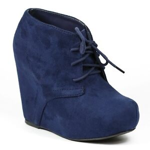 navy blue platform wedge fashion ankle boot bootie soda