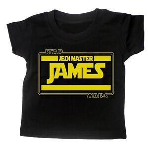 Baby-T-Shirt-BOYS-PERSONALISE-WITH-NAME-STARWARS-Movie-Tee-Slogan-Custom-Gift