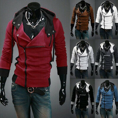 Stylish Creed Hoodie Coat Slim Mens Cosplay for Assassins Jacket Hooded (Stylish Mens)