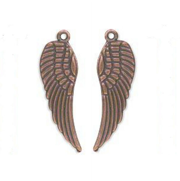 "Copper Wing Charms Pendants 1-1/8"" Steampunk Antiqued Angel Feather Lot of 20"
