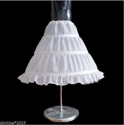 3 Ringe 1 Lagig Kinder Reifrock Petticoat Mädchen Unterrock Braut Krinoline Weiß