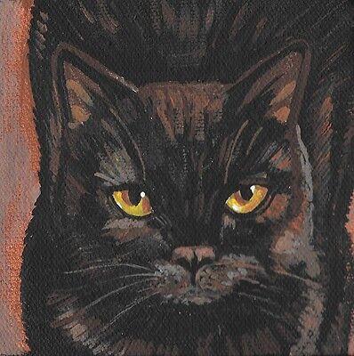 4X4 PRINT OF PAINTING RYTA BLACK CAT PORTRAIT HALLOWEEN ART REALISM GOTHIC FOLK (Halloween Portrait)