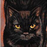 ORIGINAL OOAK HAND PAINTED PAINTING RYTA BLACK CAT PORTRAIT HALLOWEEN CANVAS ART