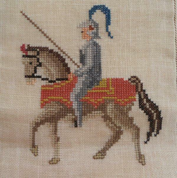 Vintage Linen Bell Pull Soldiers Medieval Horses Riders Petit Point Embroidery