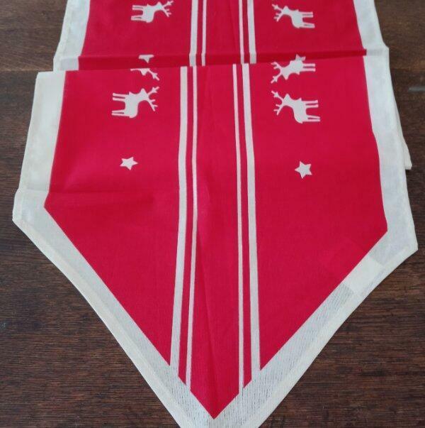 Red German Christmas Table Runner White Reindeer Printed Cotton NKD