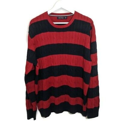 Nautica Cable Knit Sweater Red Black Horizontal Stripes Size Large