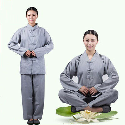 Shaolin Monk Zen Lay Clothes Buddhists Meditation Uniform Temple Monk Robe Suits - Monk Clothes