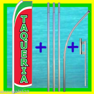 Taqueria Feather Flag 15 Tall Pole Mount Tacos Swooper Bow Flutter Banner