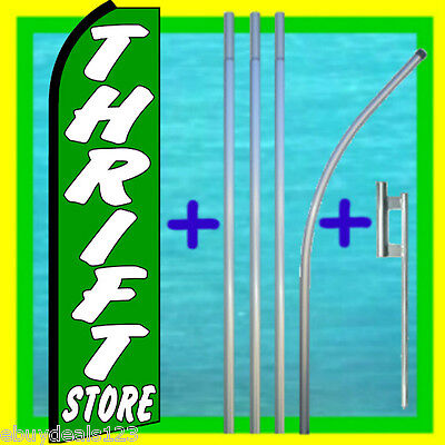Thrift Store Swooper Flag 15 Tall Pole Mount Feather Flutter Bow Banner