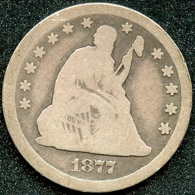 1877-CC (VG) 25C SILVER SEATED LIBERTY QUARTER